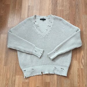 Olivaceous distressed sweater